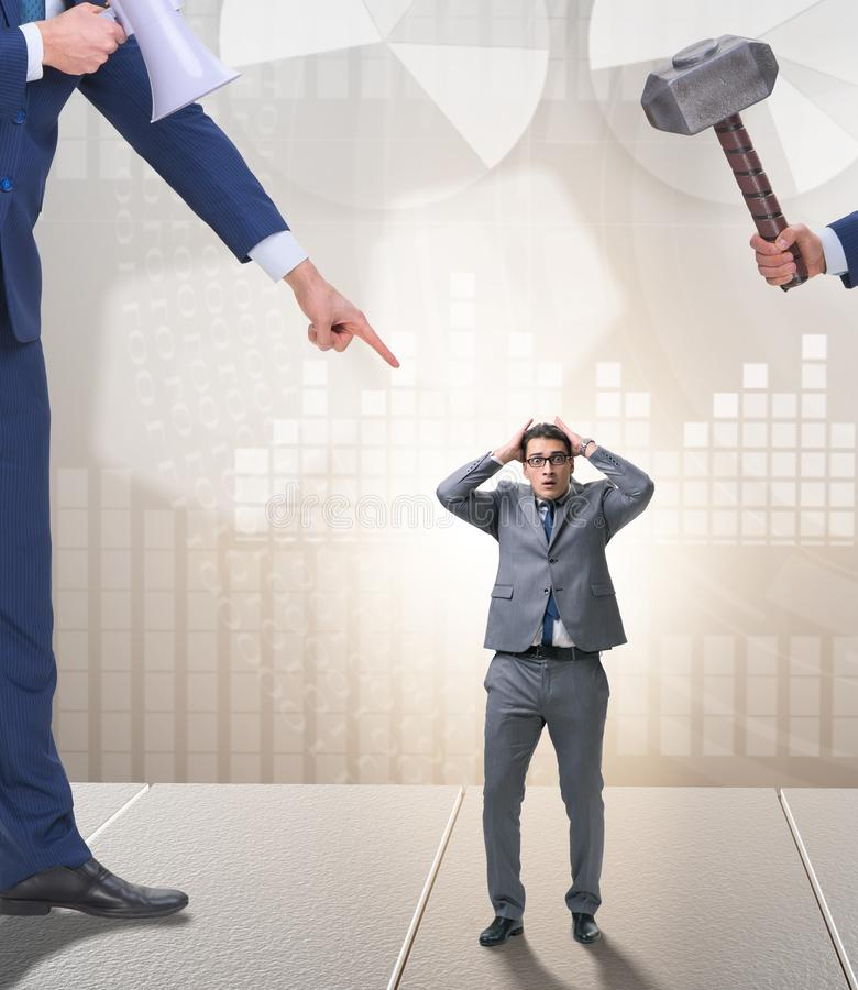 Employ? harcelant de mauvais patron f?ch? dans le concept d'affaires image libre de droits