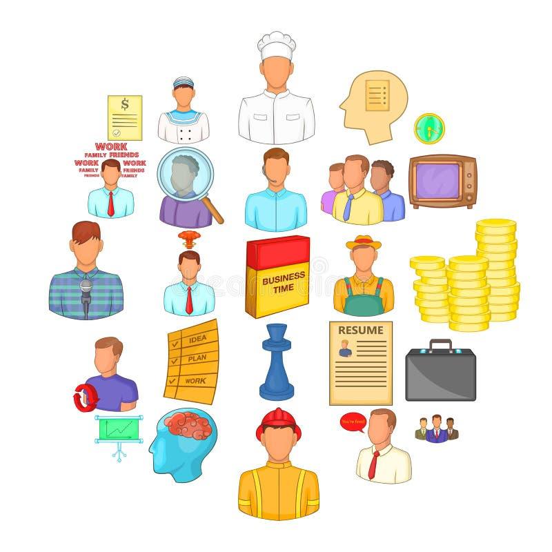 Employ icons set, cartoon style. Employ icons set. Cartoon set of 25 employ vector icons for web isolated on white background royalty free illustration