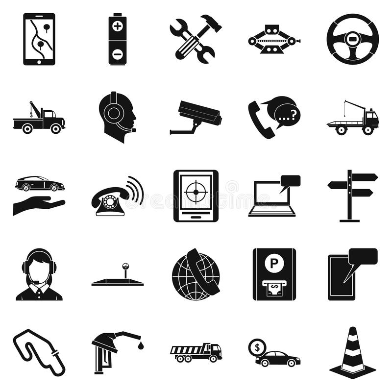 Employ icons set, simple style. Employ icons set. Simple set of 25 employ vector icons for web isolated on white background stock illustration