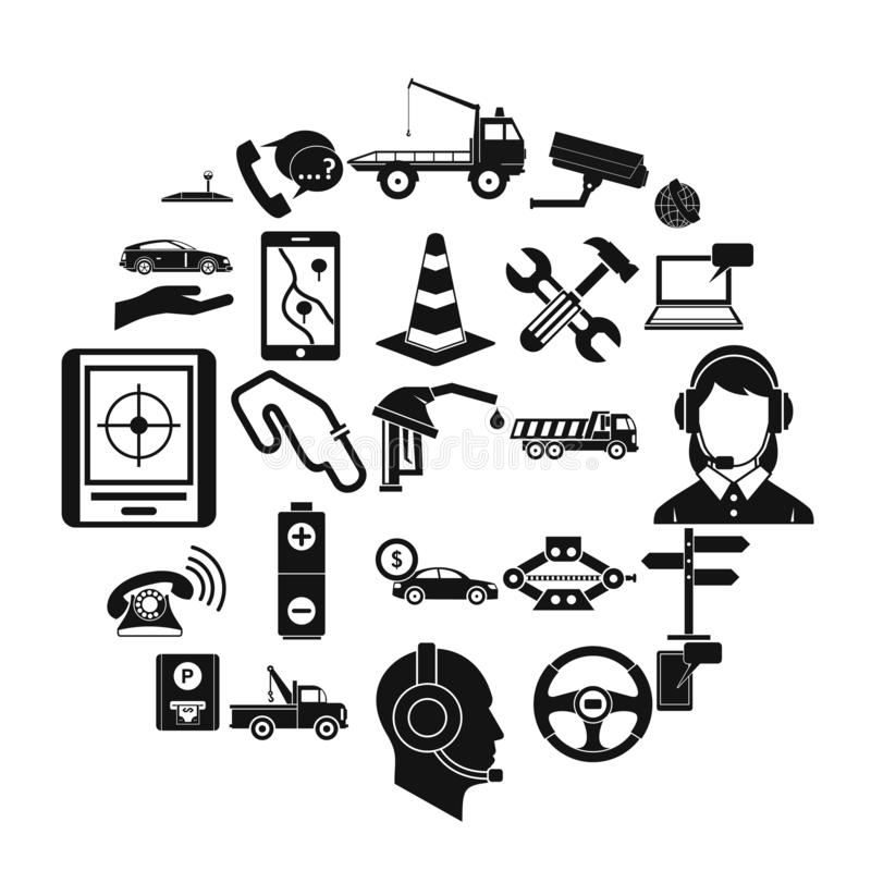 Employ icons set, simple style. Employ icons set. Simple set of 25 employ vector icons for web isolated on white background royalty free illustration