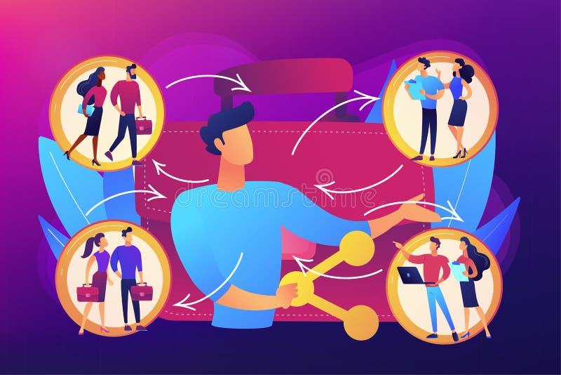 Employ? partageant l'illustration de vecteur de concept illustration de vecteur