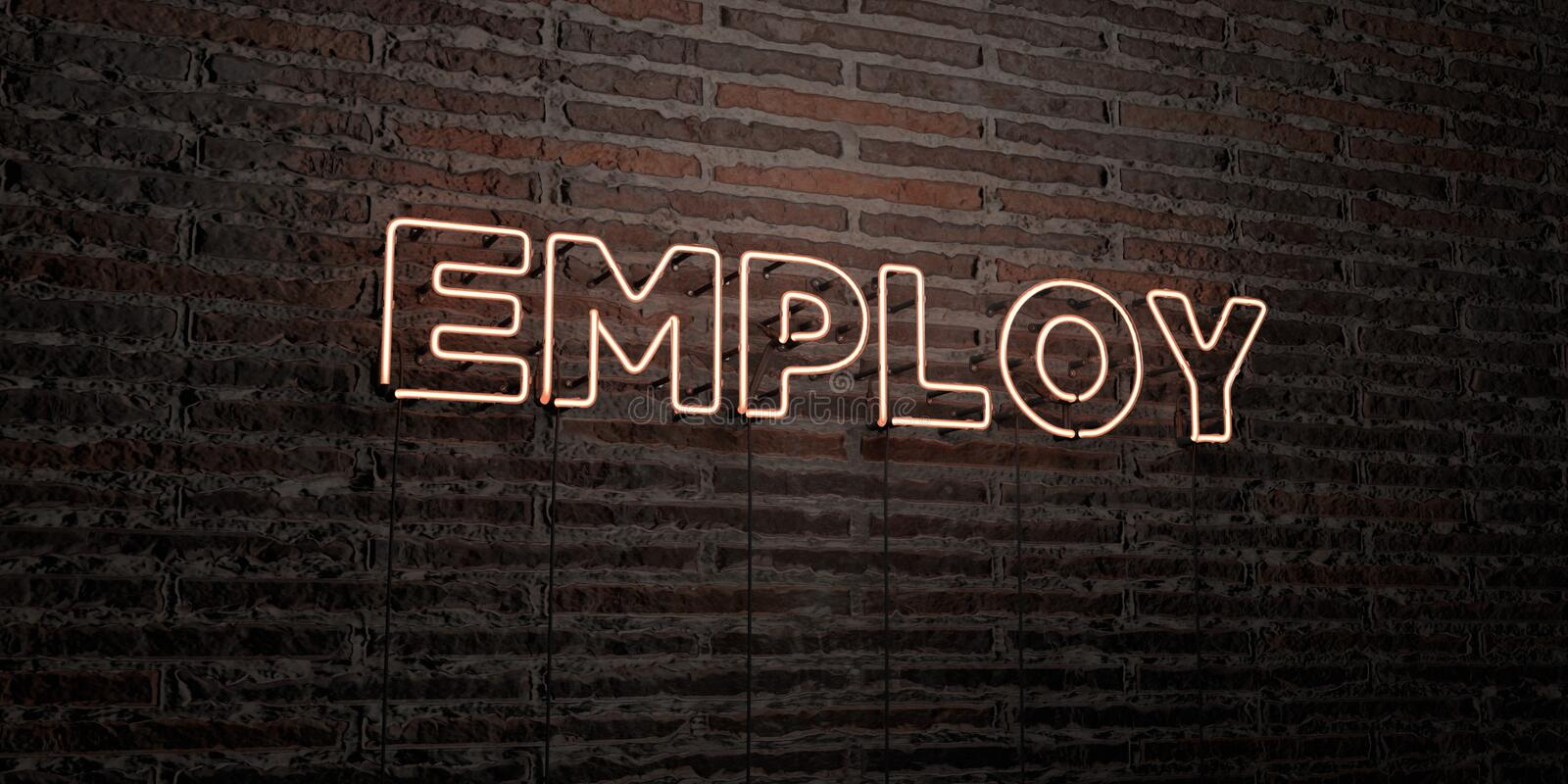 EMPLOY -Realistic Neon Sign on Brick Wall background - 3D rendered royalty free stock image. Can be used for online banner ads and direct mailers royalty free illustration