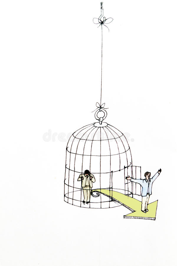Employed in cage - freedom and opportunity royalty free stock photography