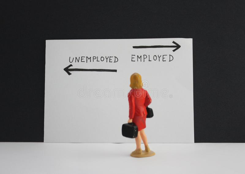 Employed or unemployed options with arrows. Little woman stand and thinking about future. Concept stock photos