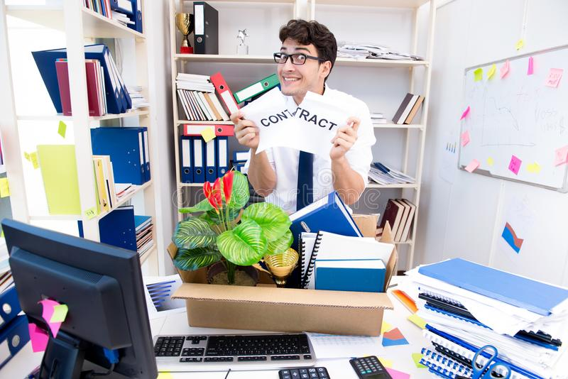 The employee being fired from work made redundant. Employee being fired from work made redundant royalty free stock photos