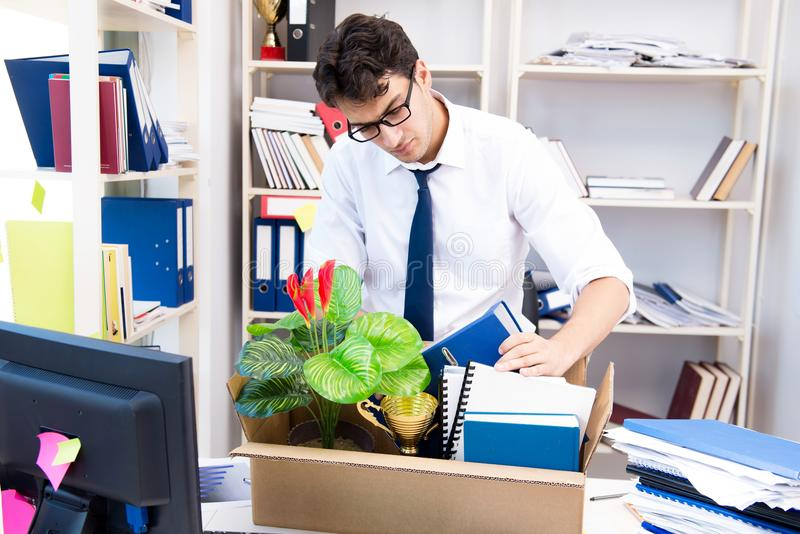The employee being fired from work made redundant. Employee being fired from work made redundant royalty free stock photo