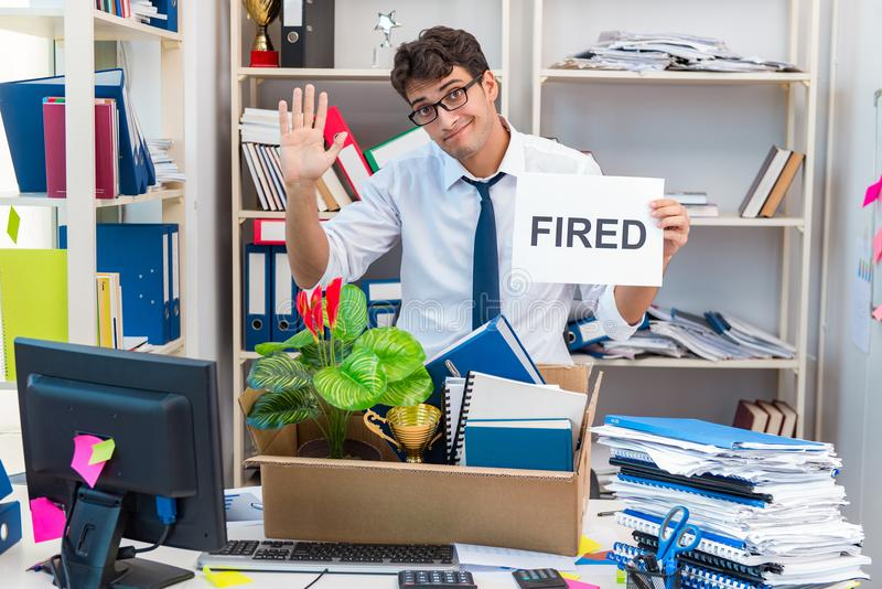 The employee being fired from work made redundant. Employee being fired from work made redundant royalty free stock photography