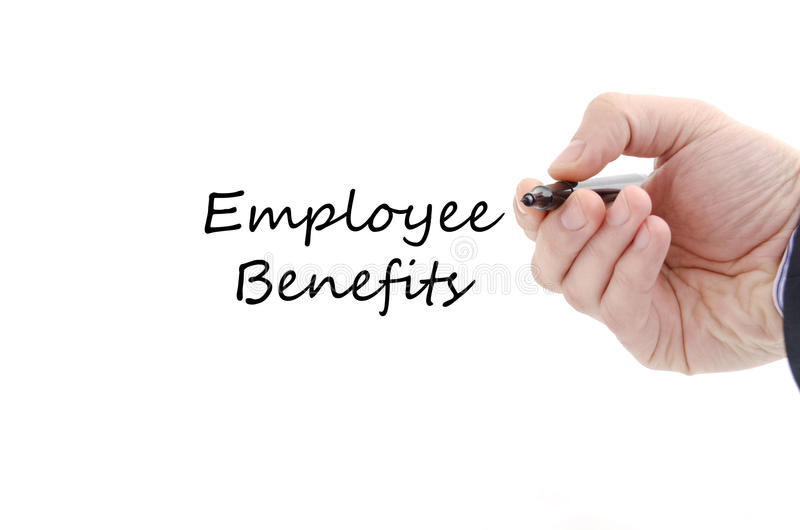 Employee benefits text concept. Isolated over white background royalty free stock images