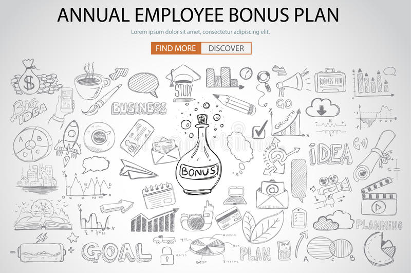 Employee Bonus Benefit Plan concept with Doodle design style. Online purchases, banking, money spending. Modern style illustration for web banners, brochure and royalty free illustration