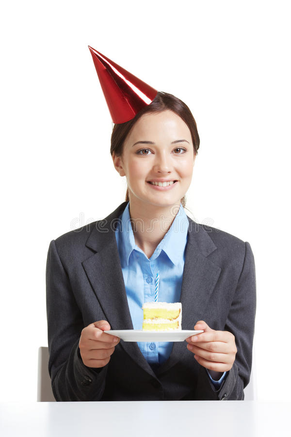 Employee with cake stock photography