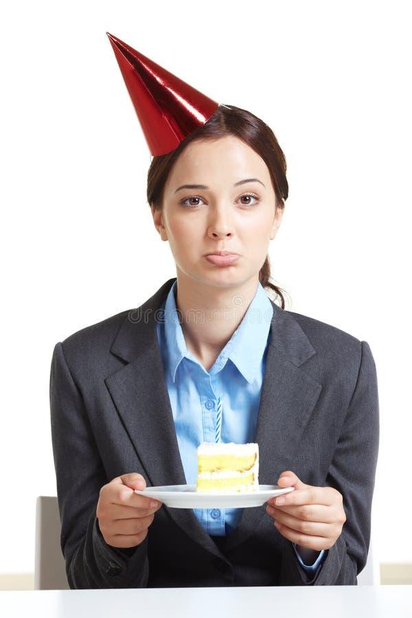 Employee with cake stock photo