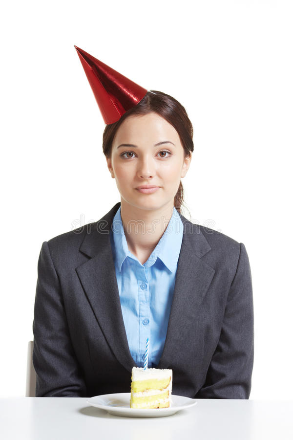 Employee with cake stock images