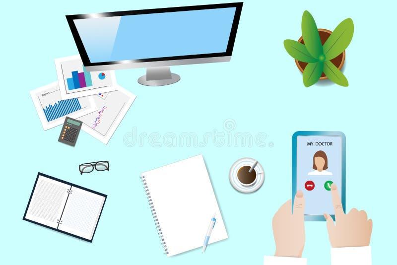 Employee is calling doctor vector stock illustration