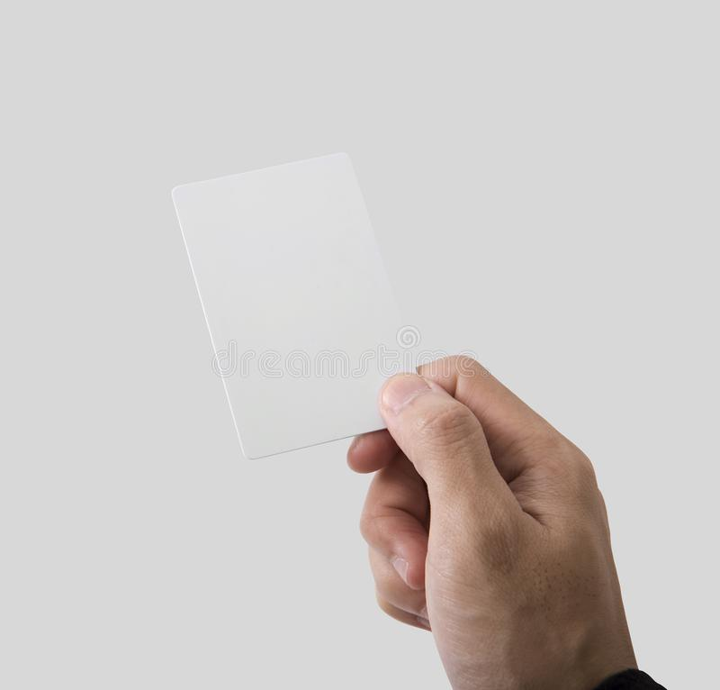 Employee catch blank business card for mockup template logo. Branding background royalty free stock photos