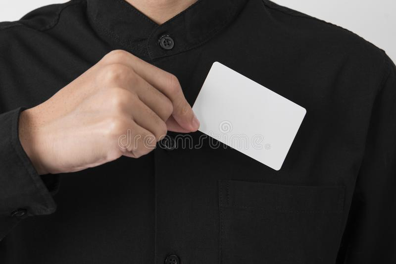 Employee catch blank business card in pocket for mockup template. Logo branding background stock image
