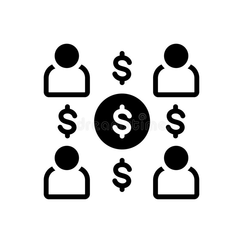 Black solid icon for Employee Costs, expenses and salary royalty free illustration