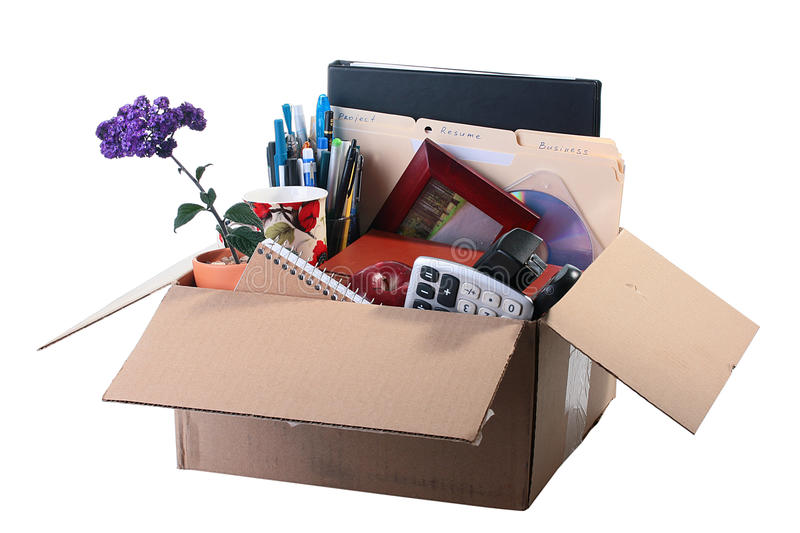 Employee dismissed. In a cardboard box of a thing of the employee dismissed from office stock photography