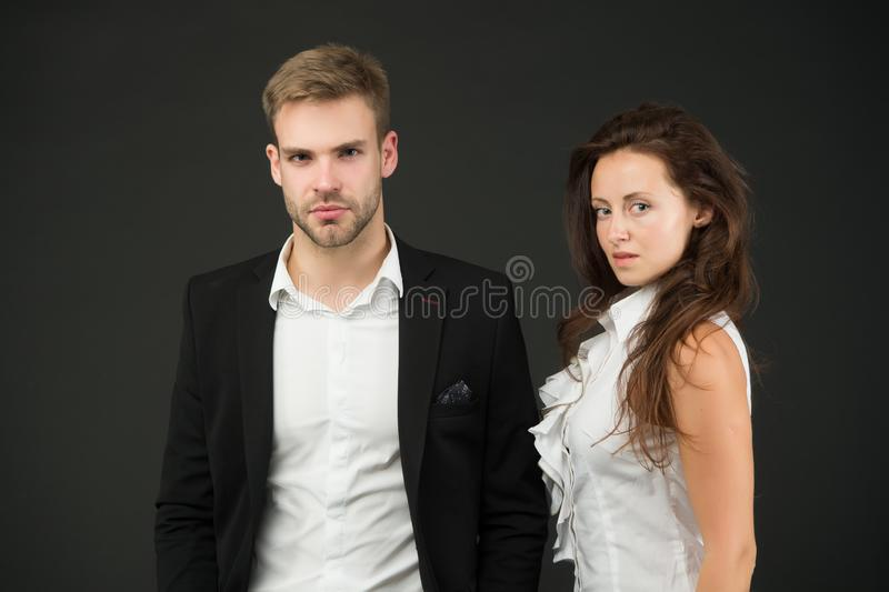 Employee in employment. Professional female employee and businessman. Sexy administrative employee and employer stock image