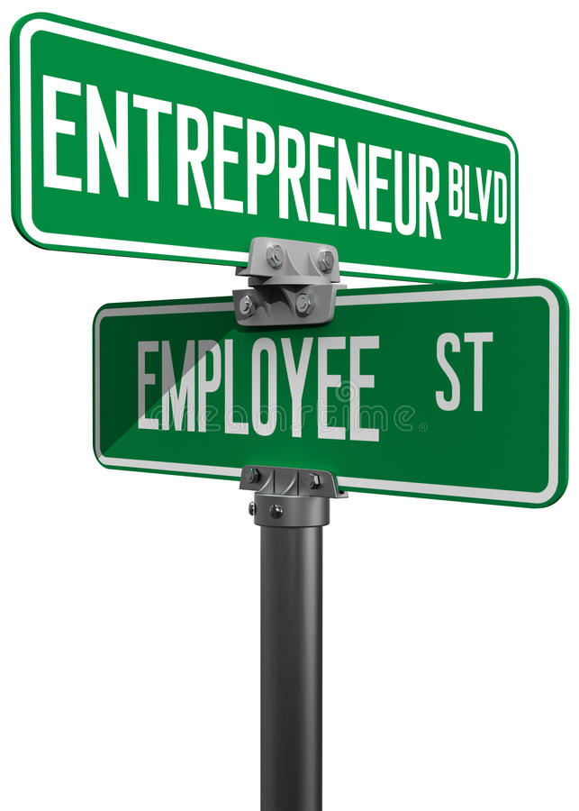 Employee Entrepreneur business decision sign. Change career directions employee entrepreneur street direction signs stock illustration
