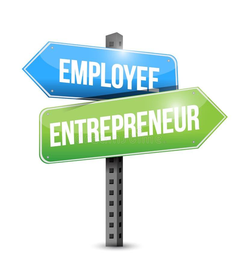 Employee, entrepreneur road sign. Illustration design over white royalty free illustration