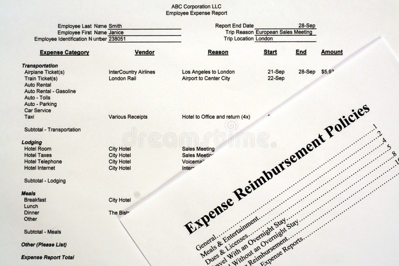 Employee Expense Report stock photography