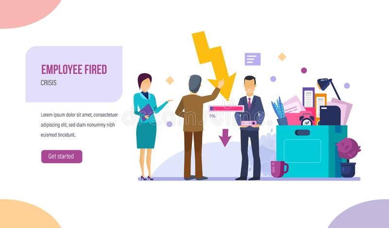 Employee fired, dismissal associated with problems of unemployment, crisis, risk. stock illustration