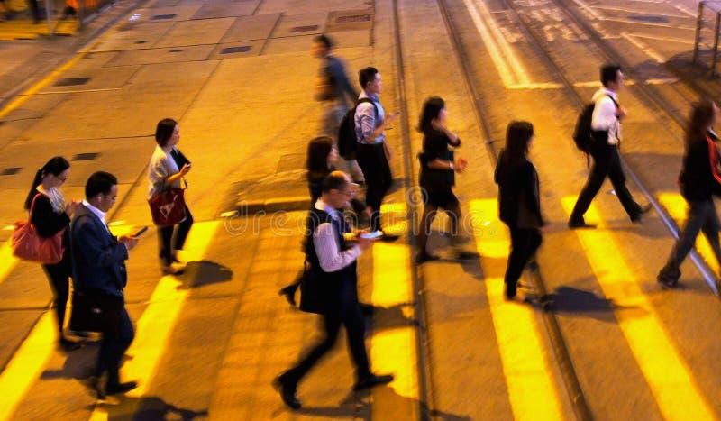 Employee get off work in evening stock image