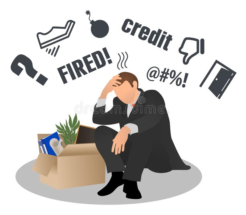 Employee gets fired from his work. Sad businessman sits with a box. Dismissed from his work. Concept of employee job reduction, cr. Isis, dismissal frustrated vector illustration
