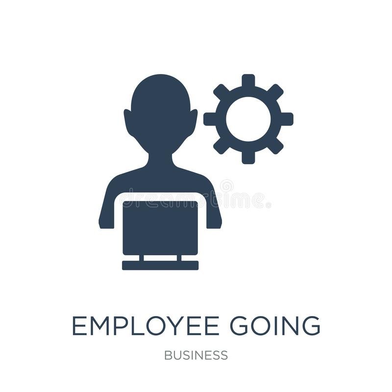 employee going to work icon in trendy design style. employee going to work icon isolated on white background. employee going to vector illustration