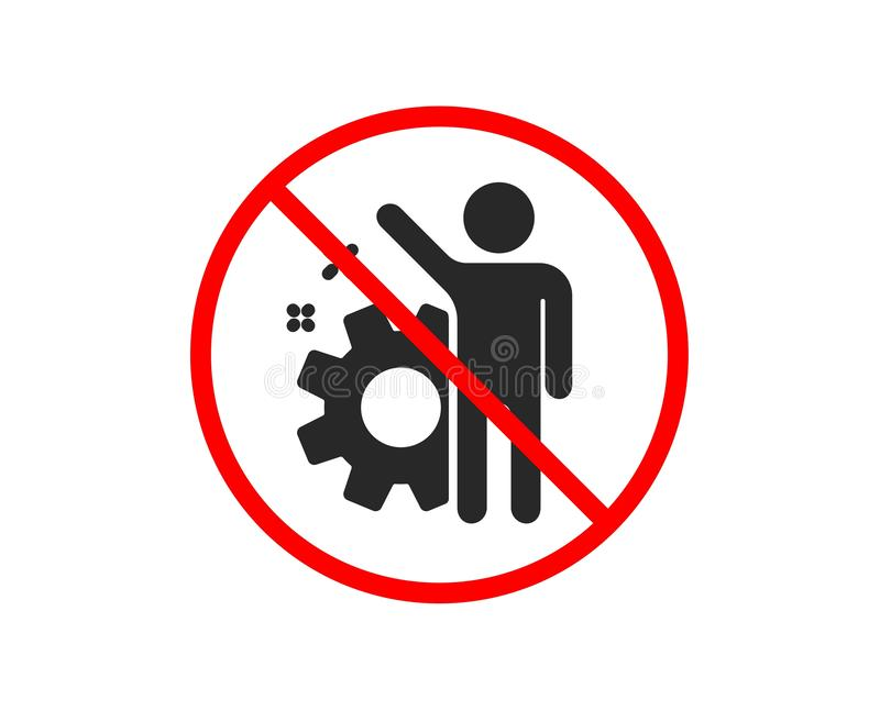 Employee icon. Business management sign. Vector. No or Stop. Employee icon. Business management sign. Work or gear symbol. Prohibited ban stop symbol. No royalty free illustration