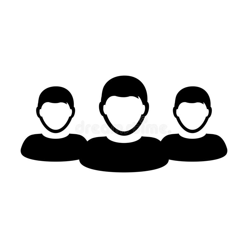 Employee icon vector male group of persons symbol avatar for business management team in flat color glyph pictogram. Illustration stock illustration
