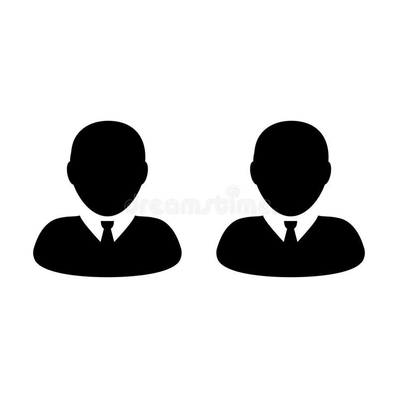 Employee icon vector male group of persons symbol avatar for business team management. In flat color glyph pictogram illustration stock illustration
