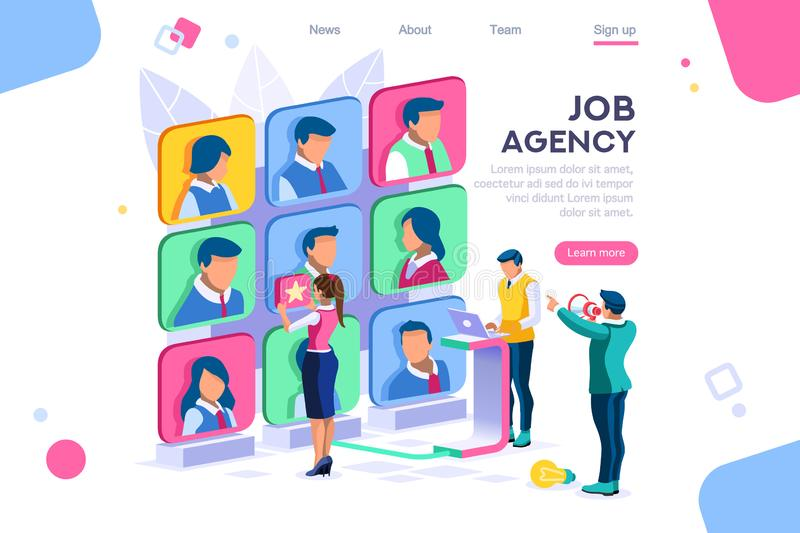 Client Employee Job Agency Concept. Client employee job agency character hire group contract social employer. Flat color icons, creative illustrations, isometric royalty free illustration