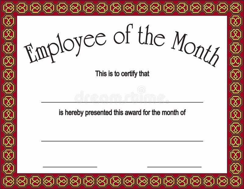 certificate of employee of the month template - employee of the month award with stock vector image