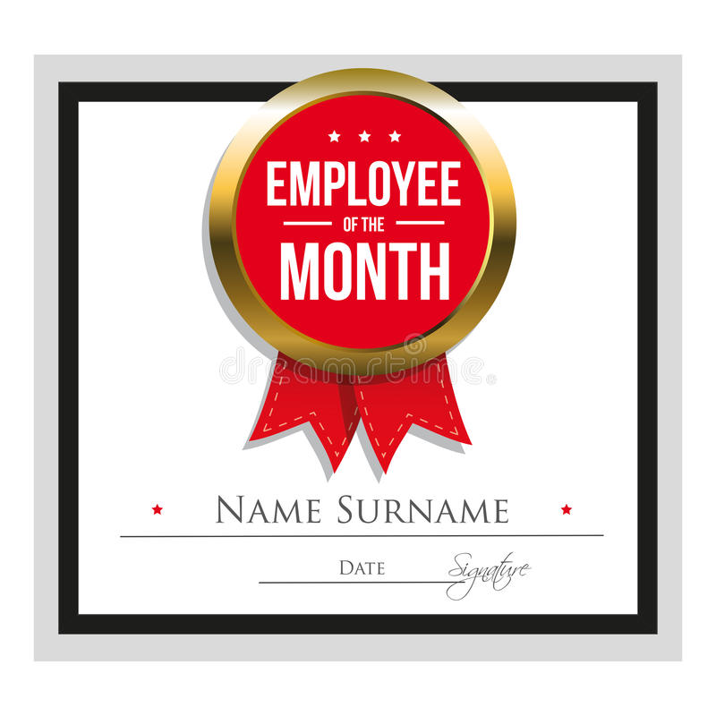 Employee Of The Month Certificate Template Stock Vector ...