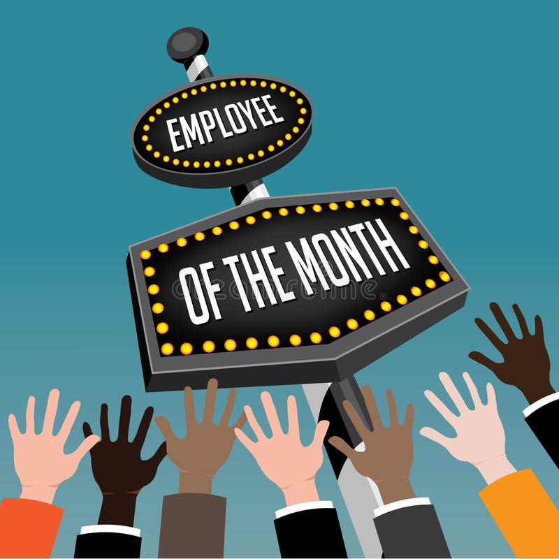 employee of the month retro sign stock vector illustration of