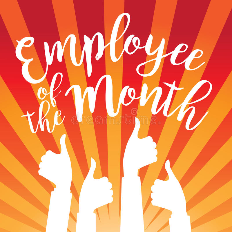 Employee Of The Month Thumbs Up Burst Stock Vector - Image ...