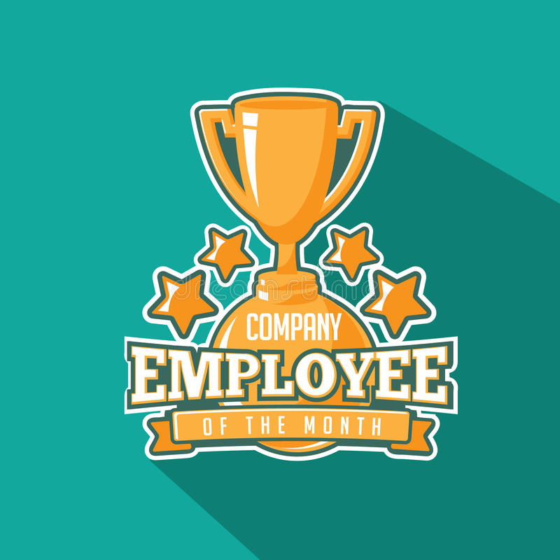 Employee of the month trophy flat design. stock illustration