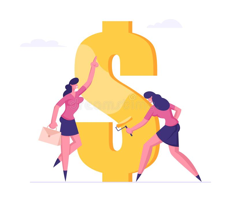 Employee Paint Dollar Sign with Roller under Boss Management. Rich Businesswoman Making Saving and Increasing Capital. Financial Goal Achievement, Profit and royalty free illustration