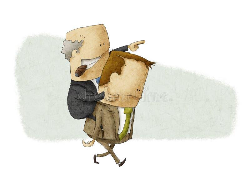 Employee piggybacking a boss vector illustration