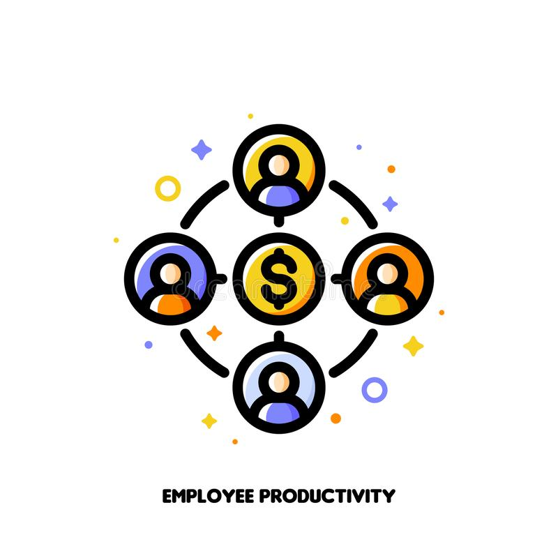 Employee productivity icon for corporate management or business leader training concept. Flat filled outline style. Pixel perfect. 64x64. Editable stroke stock illustration