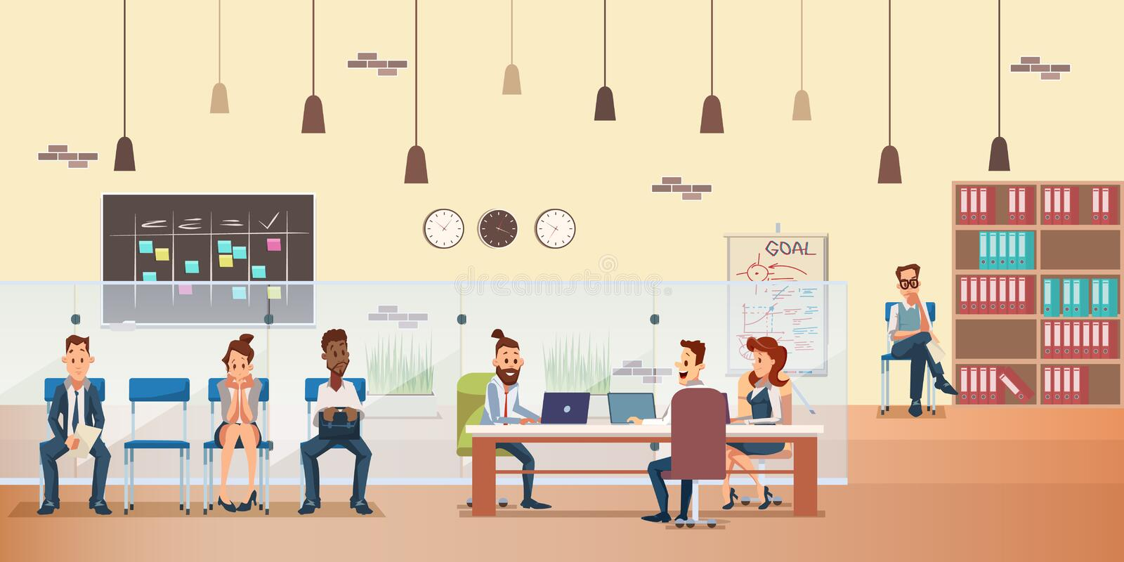 Employee Queue, People Work by Desk at Office royalty free illustration