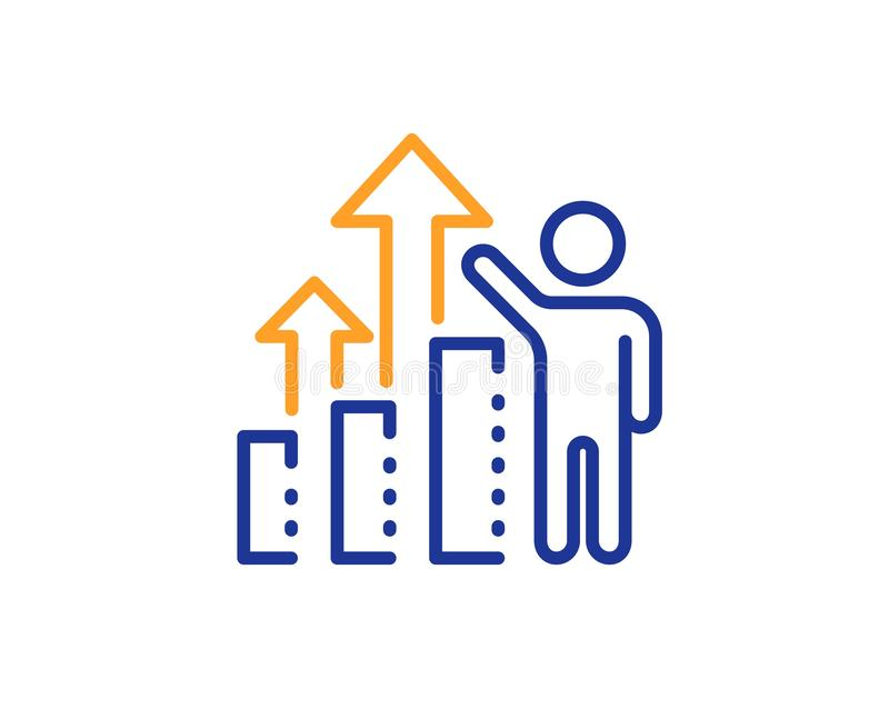Employee results line icon. Work result sign. Statistics chart. Vector. Work result sign. Employee results line icon. Statistics chart symbol. Colorful outline stock illustration