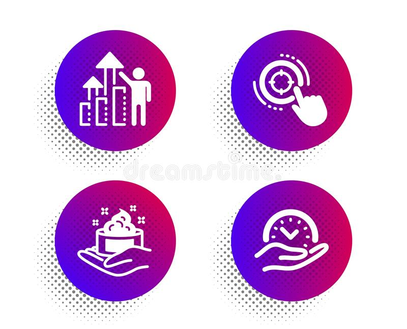 Employee results, Skin care and Seo target icons set. Safe time sign. Chart, Hand cream, Click aim. Management. Vector. Employee results, Skin care and Seo vector illustration