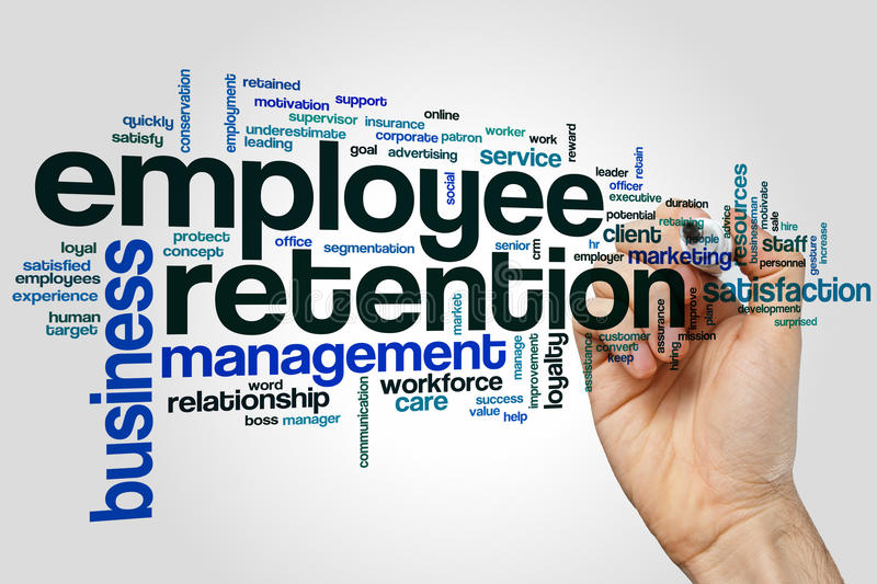 Employee retention word cloud concept on grey background royalty free stock photos