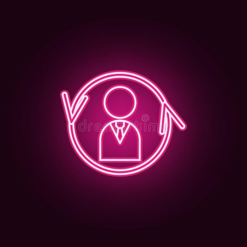 Employee round arrows neon icon. Elements of Team work set. Simple icon for websites, web design, mobile app, info graphics vector illustration