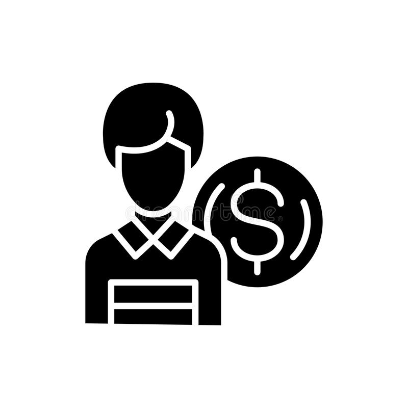 Employee salary black icon concept. Employee salary flat vector symbol, sign, illustration. royalty free illustration