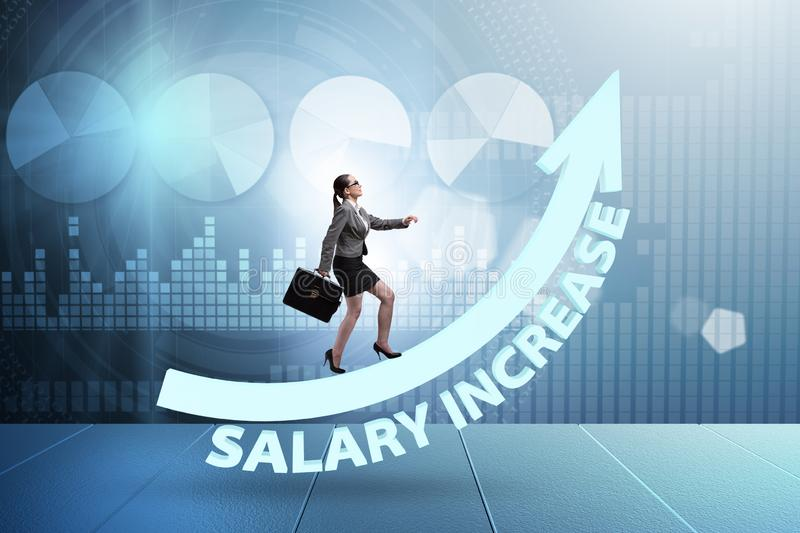 The employee in salary increase concept stock illustration