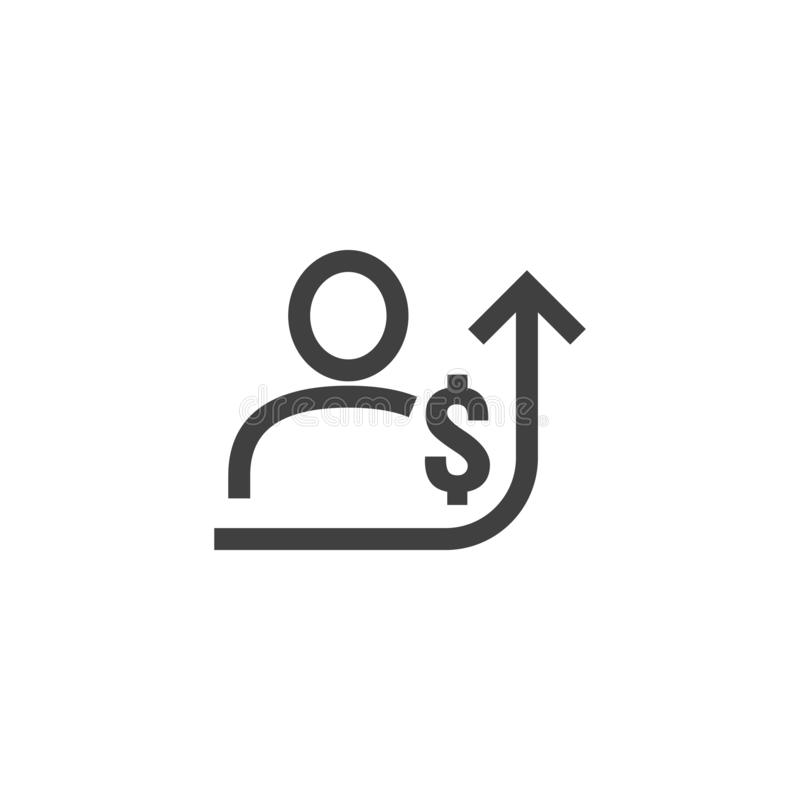 Employee salary increase icon on white background with people, arrow up graphic and dollar money symbol. raise revenue business. Cost concept. investment growth vector illustration