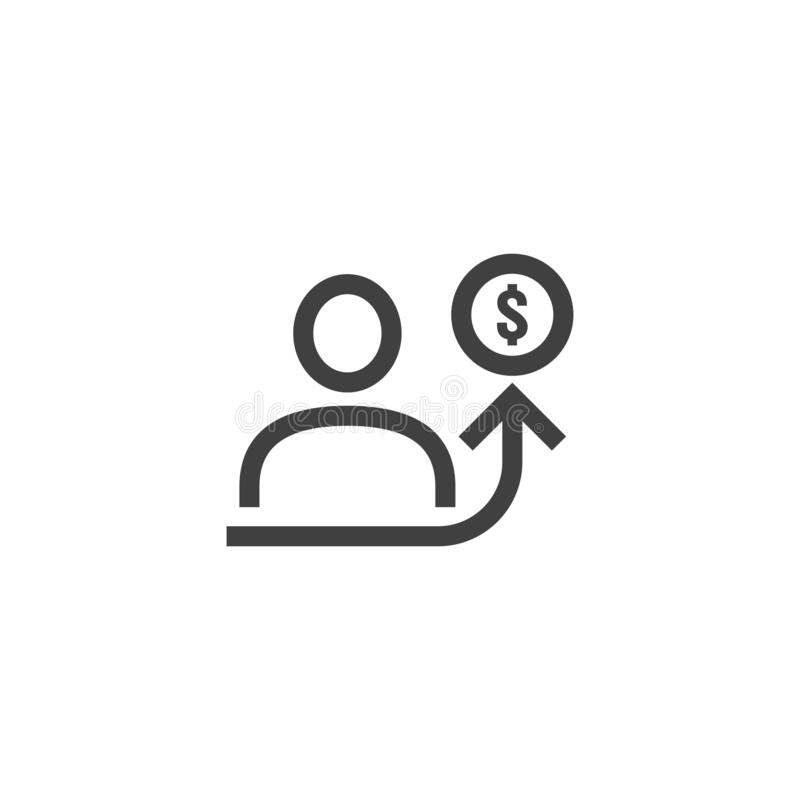 Employee salary increase icon on white background with people, arrow up graphic and dollar money symbol. raise revenue business. Cost concept. investment growth royalty free illustration